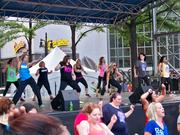 A variety of Charlotte area dance companies kept the crowds entertained on the main stage. Pictured: Queen City DanceOut.