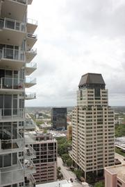 The balcony has a variety of views, including the water and downtown St. Petersburg.