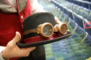 Brian Curler of Raleigh shows his handmade Steampunk goggles, part of his costume he wore at HeroesCon 2013 on June 7 at the Charlotte Convention Center.