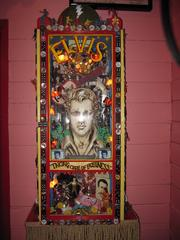 Chuy's owners John Zapp and Mike Young bought a velvet Elvis painting to with their last $20 to decorate. It's inspired shrines to Elvis at its subsequent locations, and has customers bringing in their own additions to add to the wall.