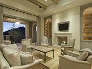 A family room leads outside.