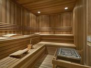 The sauna is attached to the exercise room.