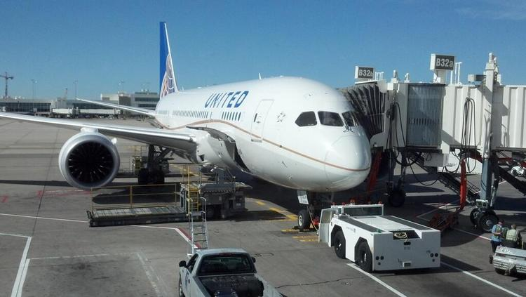 A United Airlines Boeing 787 at DIA before departing on the inaugural Denver-to-Tokyo nonstop flight on June 10.
