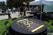 Tents and tables await students before the beginning of UCF's 50th anniversary celebration on June 10.