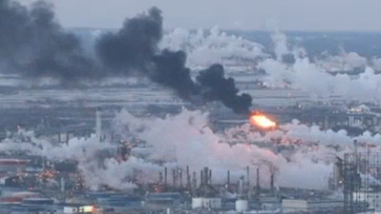 NBC10  Thick black smoke billows out of the oil refinery in South Philadelphia.