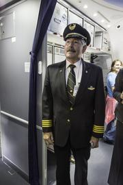 Capt. Jay Panarello, the pilot of the maiden flight to Tokyo. United Airlines and Colorado officials mark the debut of United's Denver-to-Tokyo nonstop service at a pre-flight ceremony at Denver International Airport on June 10, 2013.