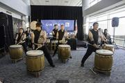 The Denver Taiko group performs traditional Japanese drum pieces. United Airlines and Colorado officials mark the debut of United's Denver-to-Tokyo nonstop service at a pre-flight ceremony at Denver International Airport on June 10, 2013.