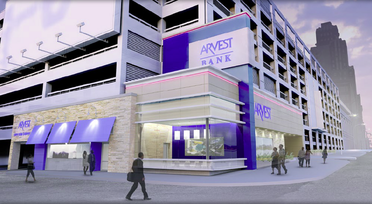 Rendering of the new Arvest Bank location at the corner of 13th Street and Grand Avenue in downtown Kansas City