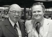 Company founder Tom Raley recruited Chuck Collings as part of the management team of Raley's in 1956. They pose together. Collings has died at age 87.