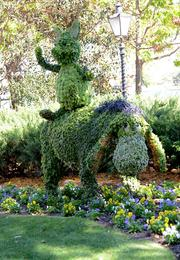 Piglet and Eeyore are among the many character topiaries to be found throughout Epcot.