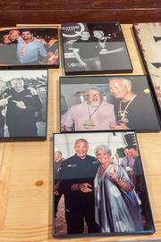Photos of John Rivers, with various Food Network chefs including Paula Deen (bottom), Robert Irvine (top right) and Aaron Sanchez (top left).