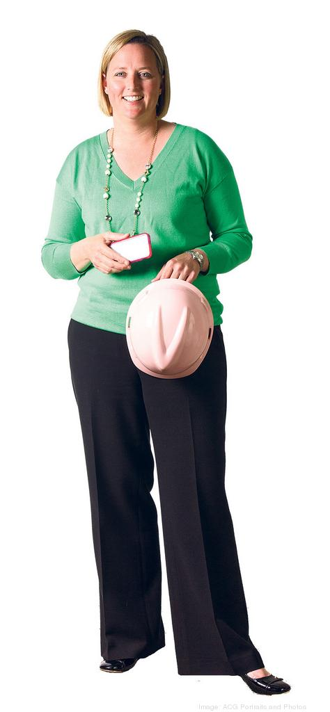 Courtney Kounkel says she knows men in  construction groups who will wear a pink hardhat when they forget their own hat — but women in the industry actually enjoy wearing pink.
