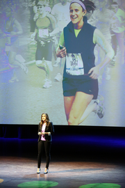 """Laura Temel of FitCause closed Demo Day with a pitch for the audience to """"move for good."""" Her company lets consumers use Nike Fuel points to support nonprofit causes. Temel announced a corporate partnership with Hurley at Demo Day. The partnership supports Waves for Water. The company wants to raise $500,000."""