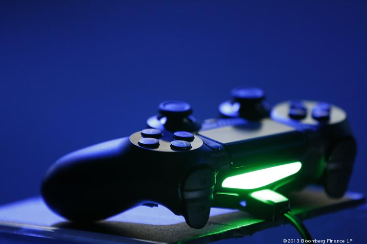 The game controller for a Sony Corp. PlayStation 4 console is displayed during the Sony E3 media event in Los Angeles in June.