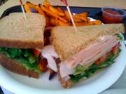 Nature's Way Cafe: Turkey and avocado sandwich with sweet-potato fries.