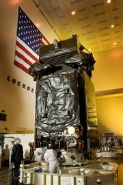 The first SBIRS geosynchronous spacecraft undergoes final preparations before it is shipped to Cape Canaveral Air Force Station in Florida for a launch.