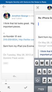 Evomail supports gestures like swipe-to-reply.