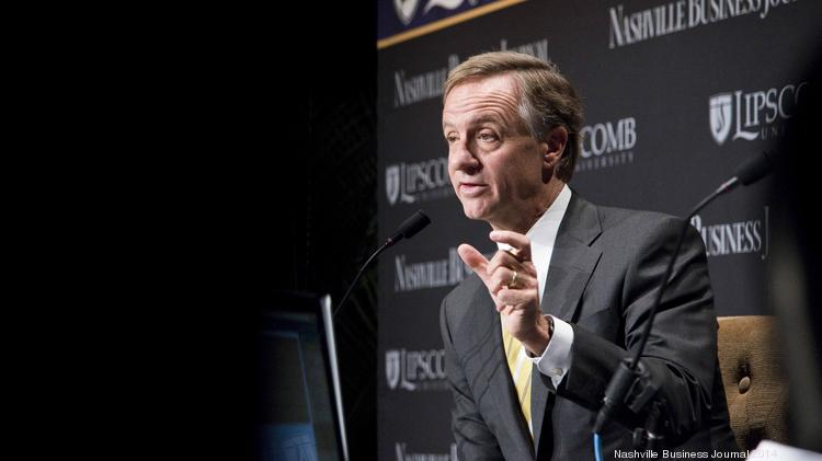 Tennessee Gov. Bill Haslam speaks at the Nashville Business Breakfast on March 3.
