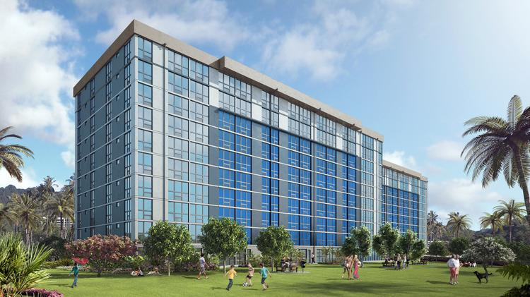A rendering of the 7000 Hawaii Kai rental project, which began pre-leasing this week