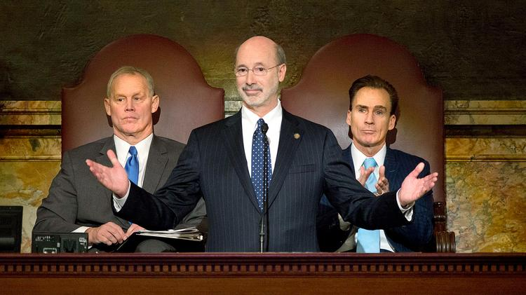 Gov. Tom Wolf, center, delivers his budget address March 3. He's flanked by House Speaker Mike Turzai, left, and Lt. Gov. Mike Stack. Photos here: https://www.flickr.com/photos/governortomwolf/