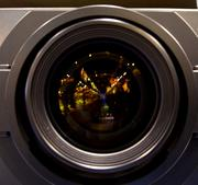 The zoom lens on one of Panasonic's high-resolution projectors rivals the zoom lenses on most SLR cameras.