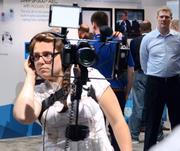 A piece of recording equipment actually came to life and walked around the exhibitor floor! Or maybe there were other news media covering the event.