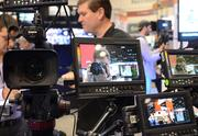 There's that photographer again. This time at an AV recording display at the Marshall Electronics booth.