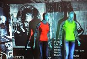 A new Epson projection system utilizes mapping software to project a virtual storefront. The system, not yet in use, could allow customers to view selected clothing on mannequins.