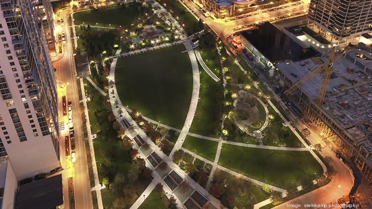 The Office of James Burnett designed the Park at Lakeshore East in Chicago, which covers 4.6 acres.