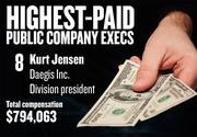 No. 8. Kurt Jensen, Division president of Daegis Inc. in Roseville. For the year ending April 30, 2013, his salary was $287,083. His total compensation, including options and bonuses, was $794,063.