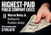 No. 11. Warren Boley Jr., President, Aerojet of GenCorp Inc. in Rancho Cordova. For the year ending Nov. 30, 2013, his salary was $127,885. His total compensation, including options and bonuses, was $709,670. Boley joined the company in July 2012.