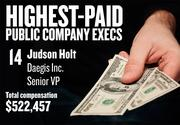 No. 14. Judson Holt, SVP of Daegis Inc. in Roseville. For the year ending April 30, 2013, his salary was $225,000. His total compensation, including options and bonuses, was $522,457.