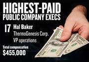 No. 17. Hal Baker, VP operations of ThermoGenesis Corp. in Rancho Cordova. For the year ending Jun. 30, 2012, his salary was $262,000. His total compensation, including options and bonuses, was $455,000.