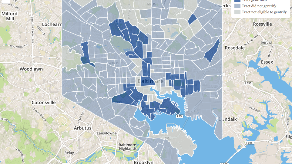 This map shows the gentrification of Baltimores neighborhoods over