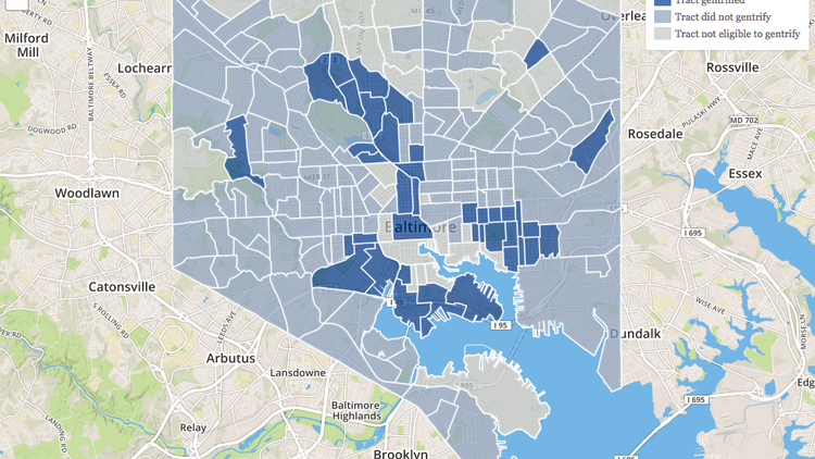 This screenshot from Governing magazine's website shows how Baltimore neighborhoods have gentrified during the last 20 years.
