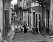 Street scene in black and white in Old Havana