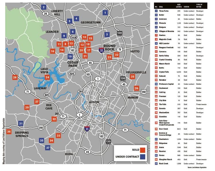 This map and table, at right, illustrate where residential development is expected in the near future.