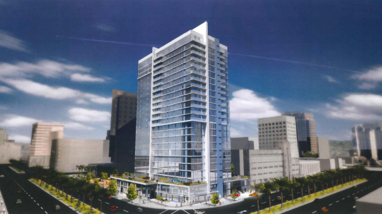 KT Urban's conceptual plan — and at this point it's purely a concept —would include a 24-story tower and 7,700 square feet of retail on one of the city's highest profile corners. C2K Architecture, which has done all of the work for KT Urban in downtown San Jose, is the architect.