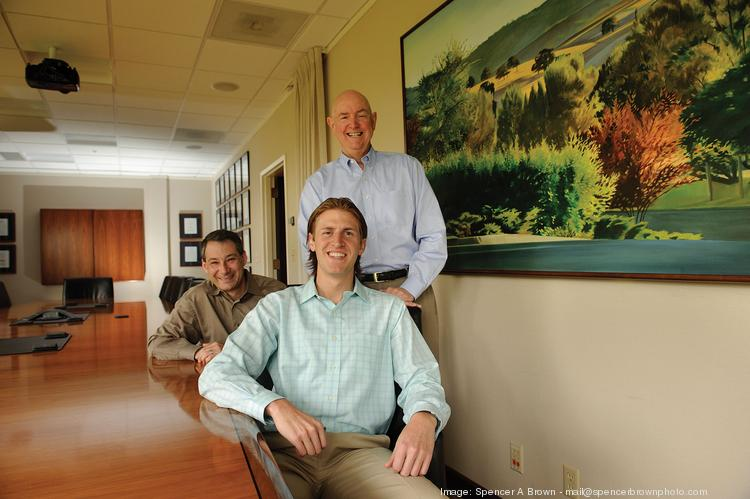 Mark Siegel (back left), Adam Boutin (front, center) and DuBose Montgomery  represent three generations of Menlo Ventures.