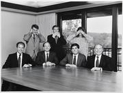 Menlo Ventures' team circa 1985 in the same conference room, which the firm still occupies. Bottom row (left to right): Doug Carlisle, DuBose Montgomery, Ken Joy, Tom Bredt. Top: Rick Magnuson, John Jarve, Denise O'Leary.