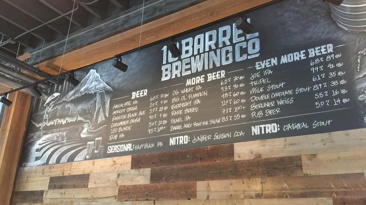The tap list at 10 Barrel's new Pearl District pub, which opens today.