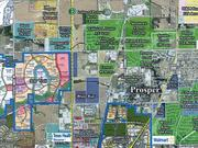 A map of the two projects underway by Blue Star Land: Star Trail and the Gates of Prosper.
