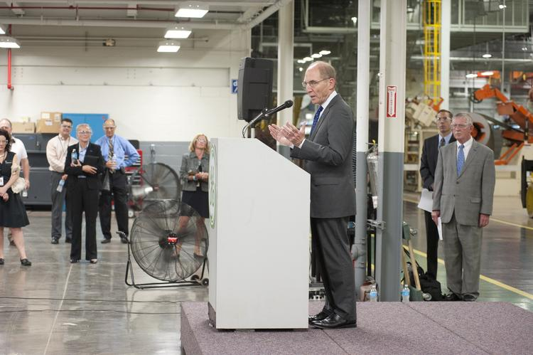 University of Kentucky president Eli Capilouto spoke about a new partnership between General Electric Co. and UK during an event Thursday at GE Appliance Park in Louisville.