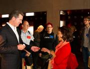 Lieutenant Gov. Gavin Newsom welcomed fliers at a morning kickoff event in San Francisco.