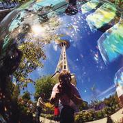 ACCIDENTAL ART: Tourist David Franco, 16, captured the Space Needle and a gorgeous day in his snapshot of a glass artwork outside of the Chihuly Garden and Glass exhibit at Seattle Center.