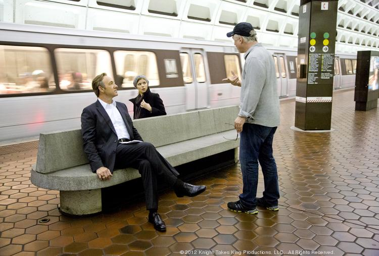"""""""House of Cards,"""" the Netflix production featuring Kevin Spacey, pops into D.C. when it needs an authentic location, such as this shoot at a Metro station. The rest of its scenes are filmed in Baltimore and Howard County."""