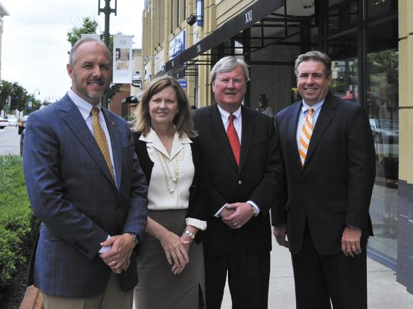 Colliers International is expanding into the Dayton market with a temporary office at The Greene. (Left to Right) Paul Miller, Tammy Davidson, Pete Nichols and Shenan Murphy.
