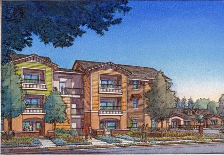 Shown here is a rendering of one end of a new housing complex for farmworkers in Woodland. Spring Lake will consist of 62 apartments and town homes designed to be among the first zero-net energy housing for farm labor in the country, through solar panels and efficient design.