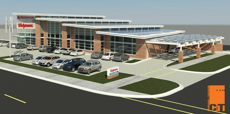 A rendering of the new Walgreens store in Evanston that the company hopes will produce more energy than it uses.