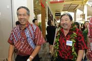 Wally Chin, left, chief financial officer of Hawaii Community Foundation, and Kelvin Taketa, president of Hawaii Community Foundation at the Microsoft Store opening at Ala Moana Center.